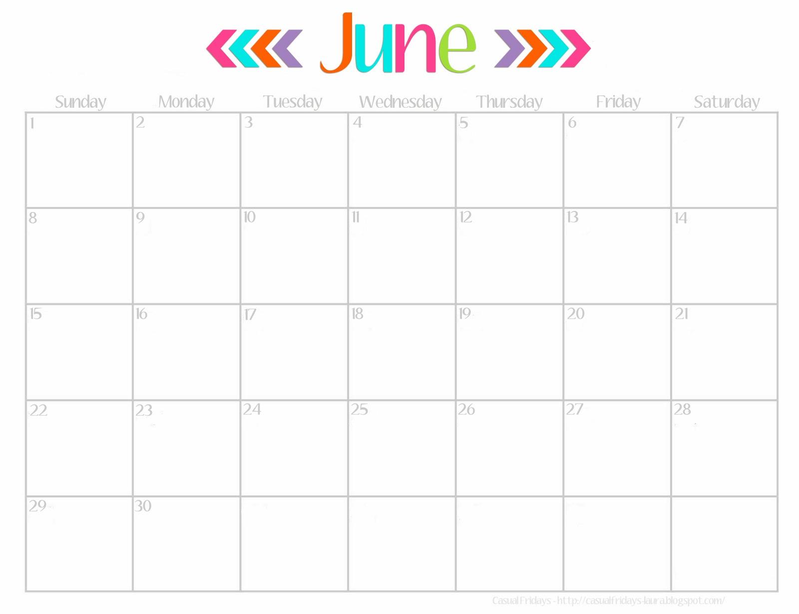 5 Best Images of Cute June 2014 Calendar Printable Free Cute