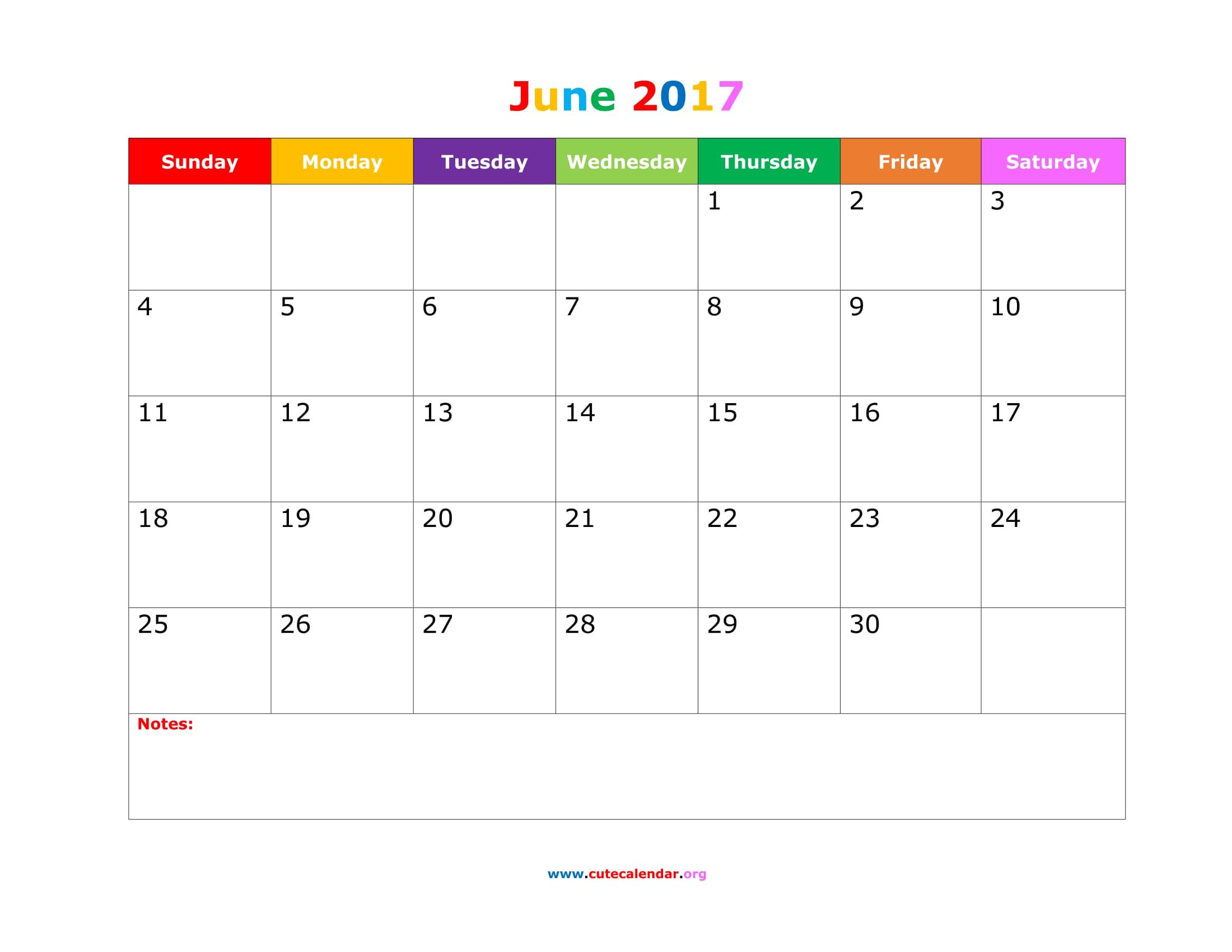 June 2017 Calendar Cute | 2017 calendar template
