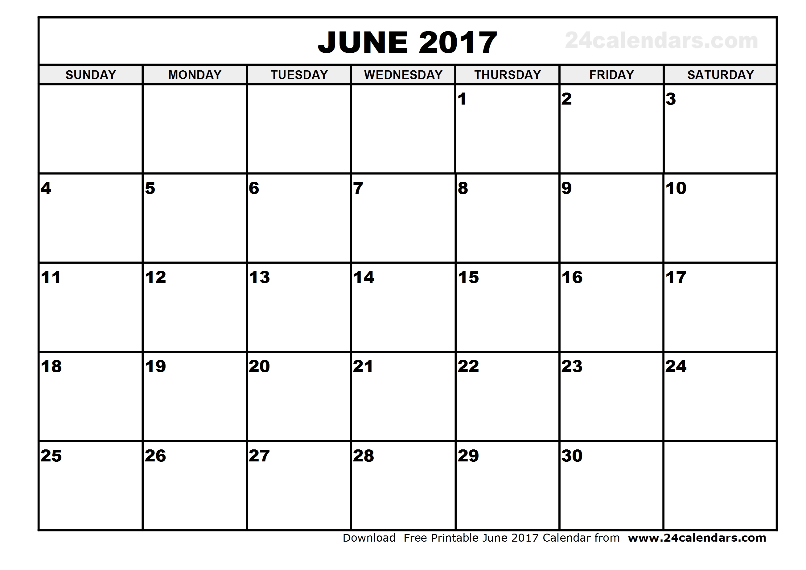 June 2017 Calendar Cute | weekly calendar template
