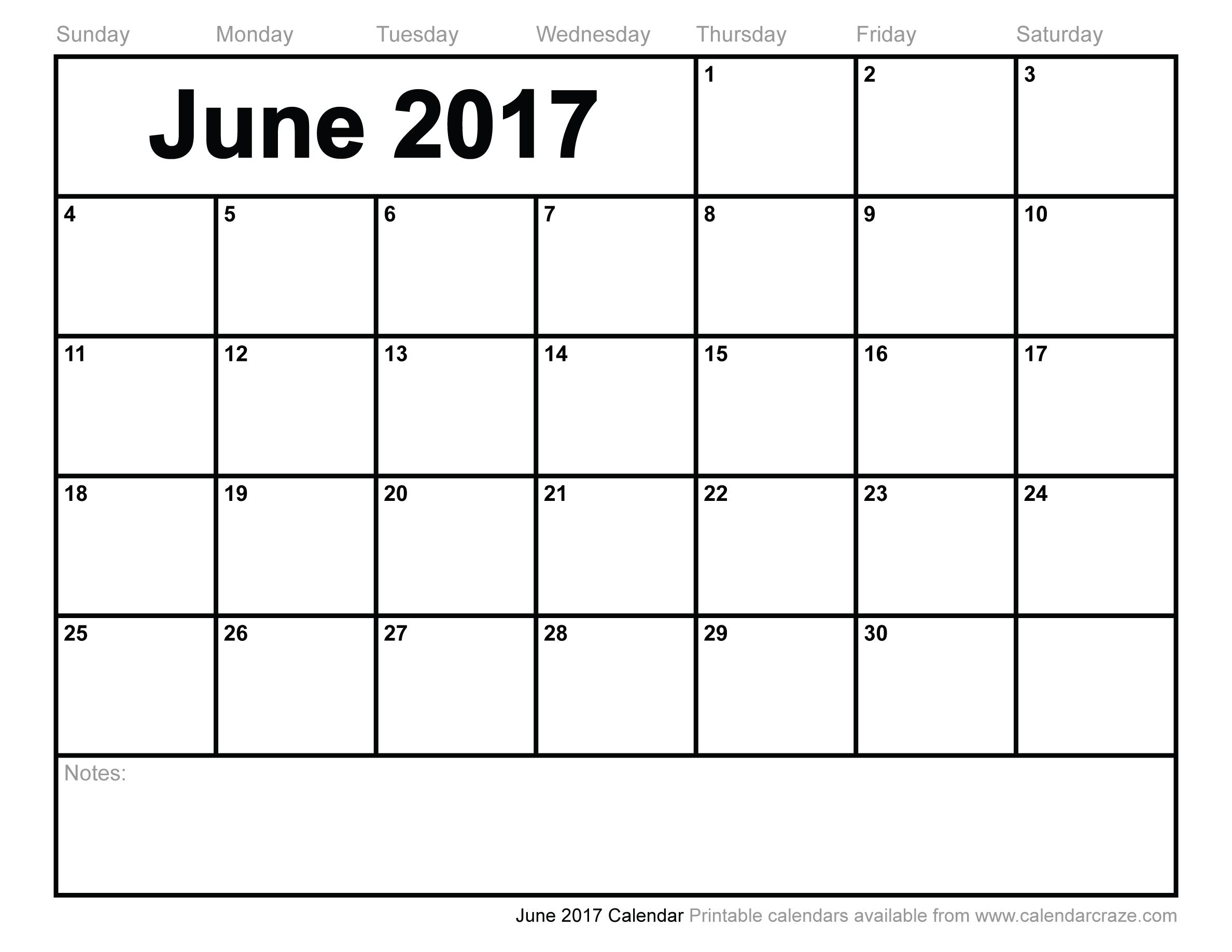 June 2017 Calendar Printable | weekly calendar template