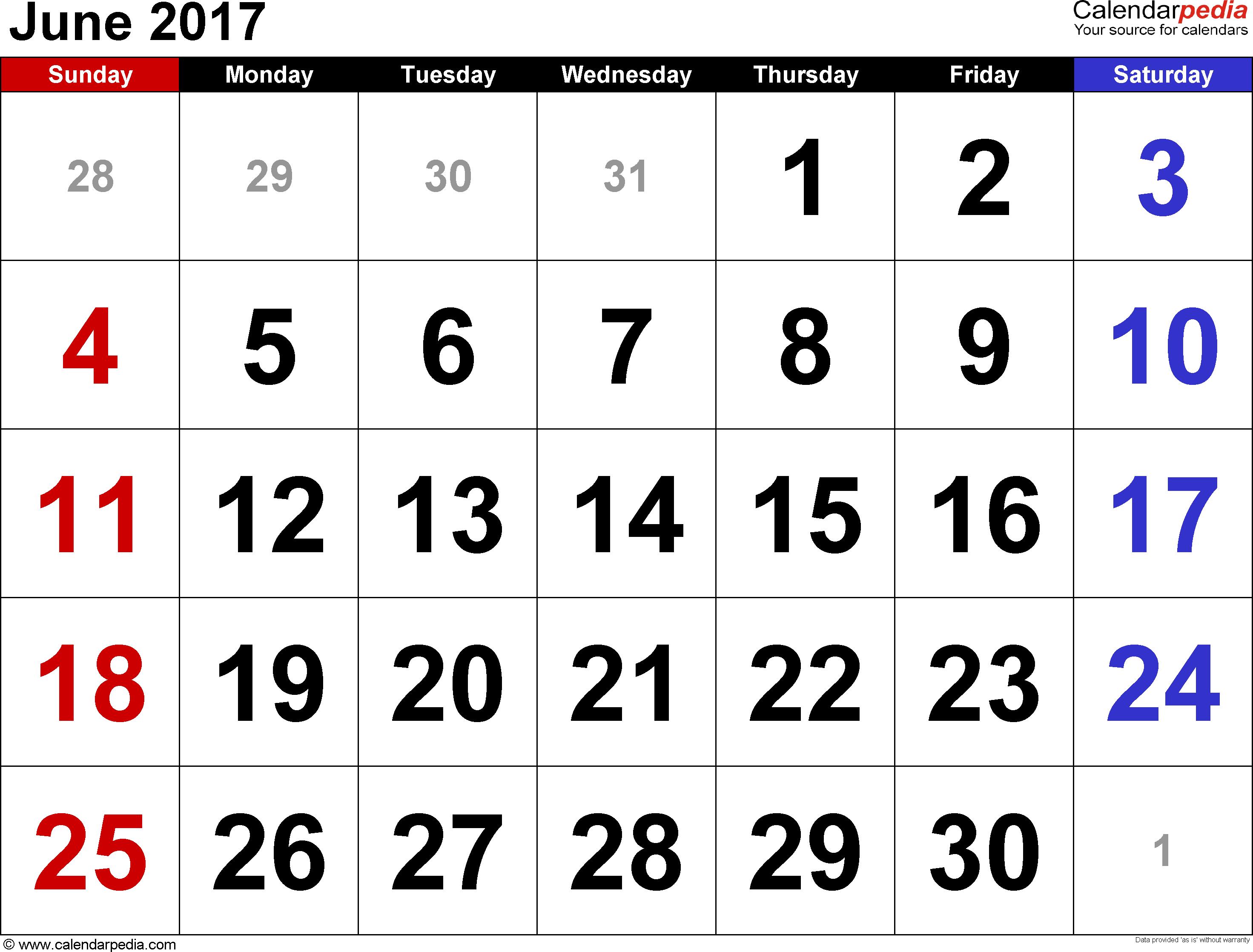June 2017 Calendars for Word, Excel & PDF