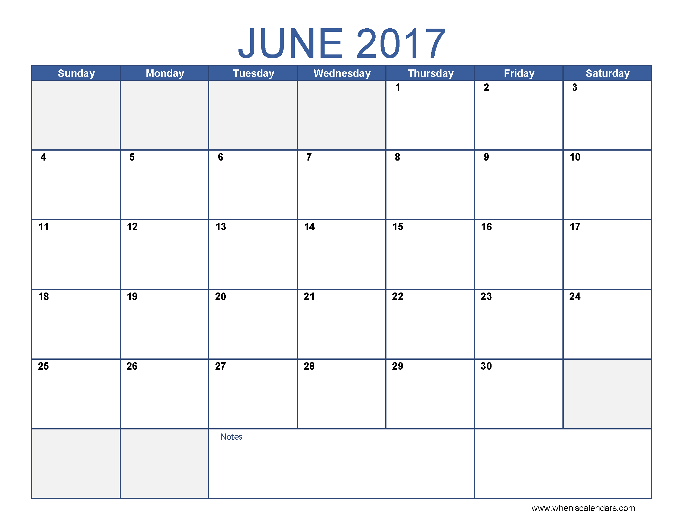 June 2017 Calendar With US Holidays