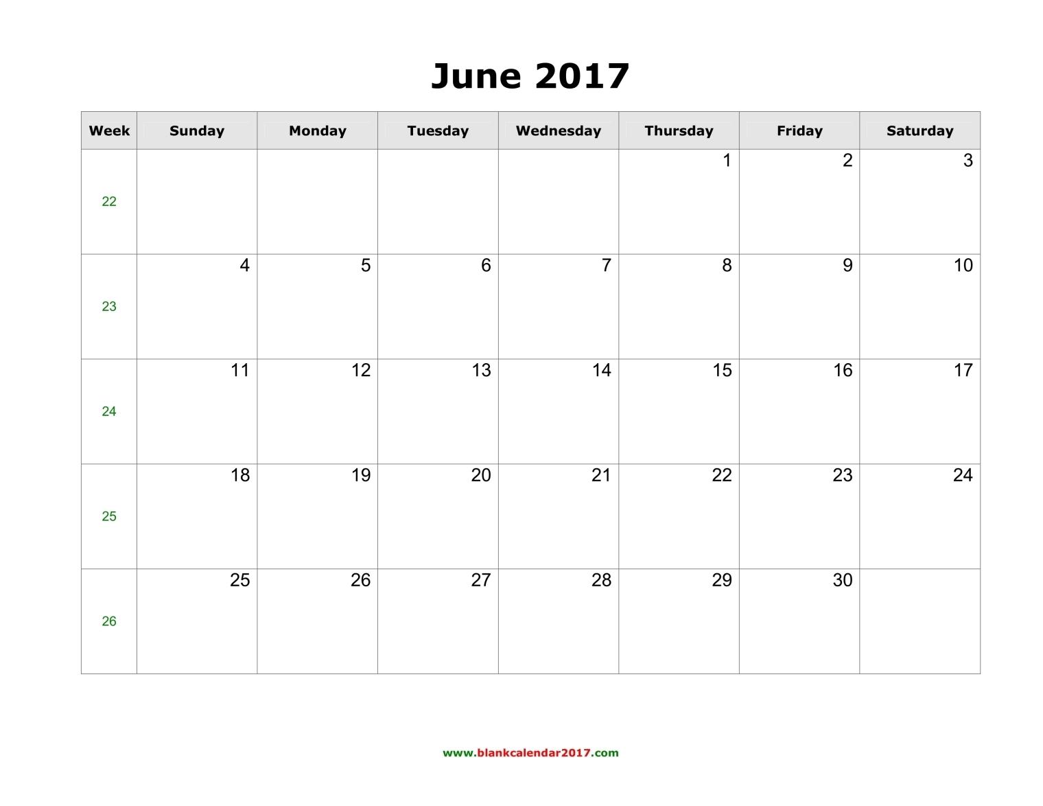 Blank Calendar for June 2017