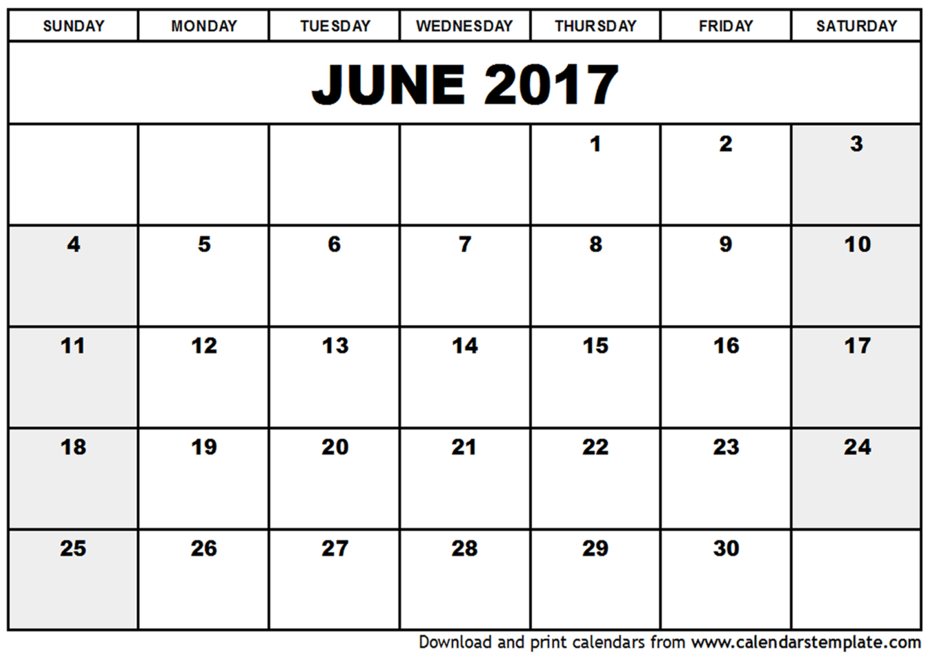printable june 2017 calendar – Calendar light
