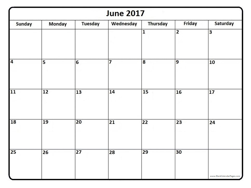 June 2017 Calendar | weekly calendar template