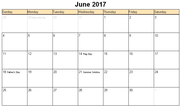 June 2017 Calendar Printable With Holidays | weekly calendar template