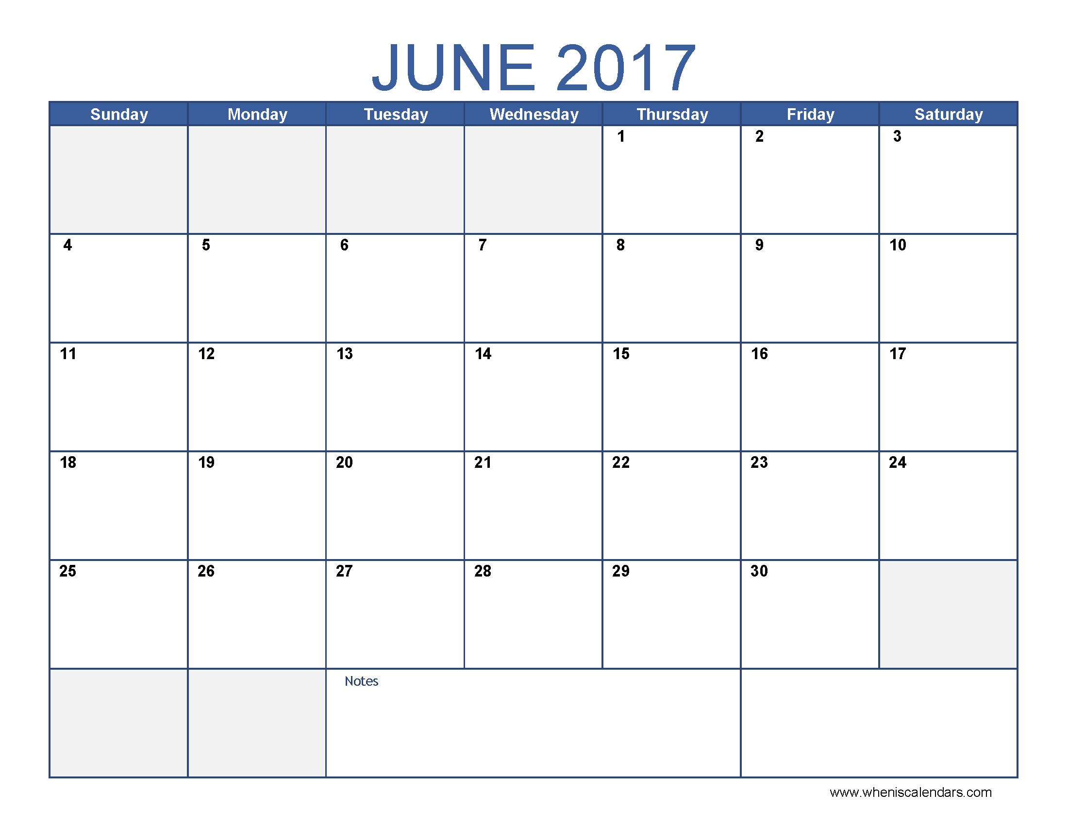 June 2017 Calendar Template | free calendar 2017