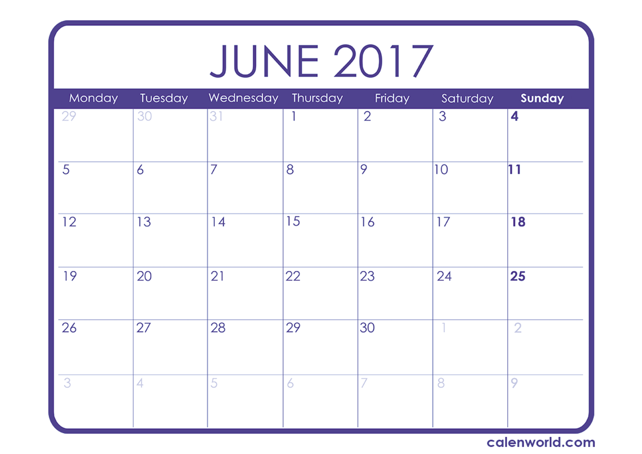 June 2017 Calendar Uk | monthly calendar printable