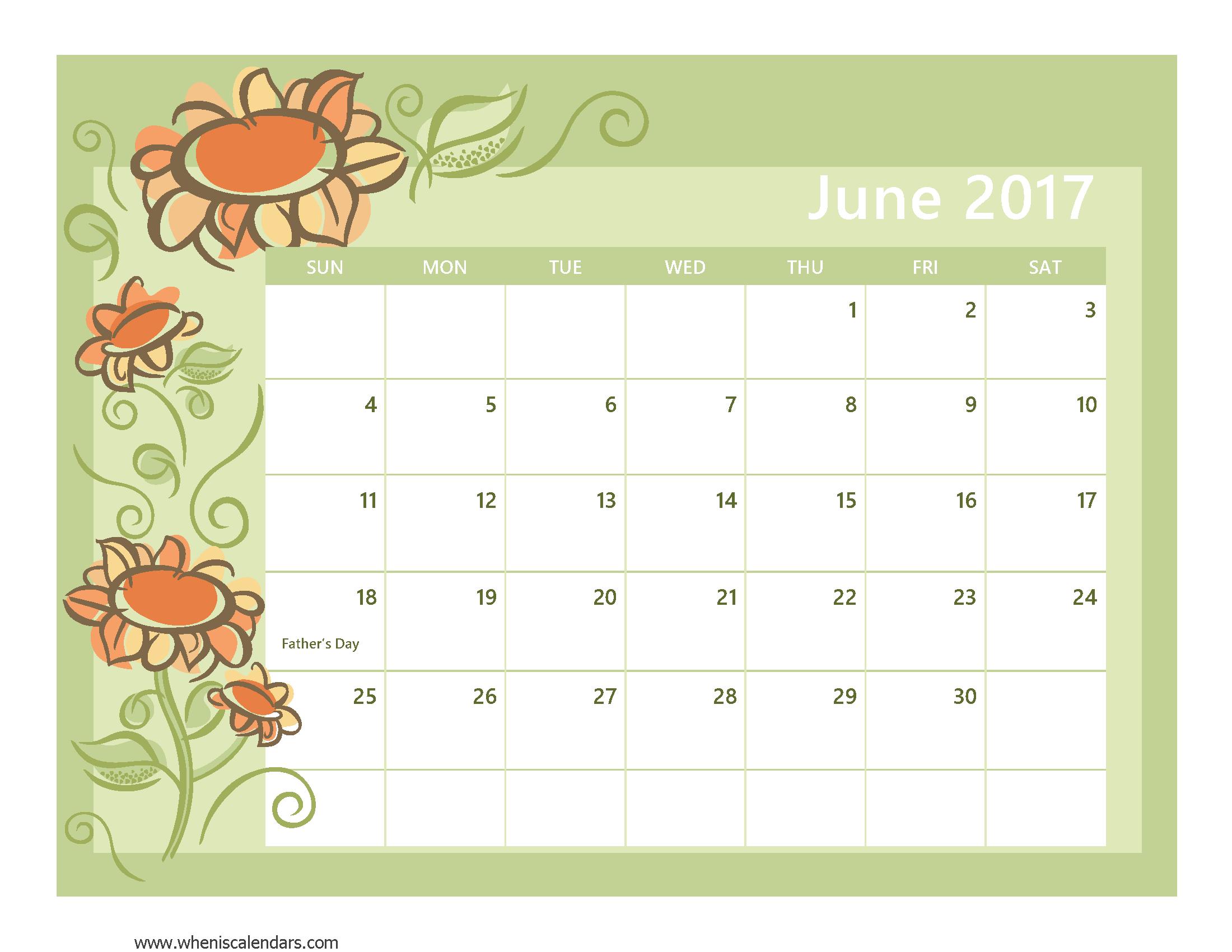 June 2017 Calendar With US Holidays