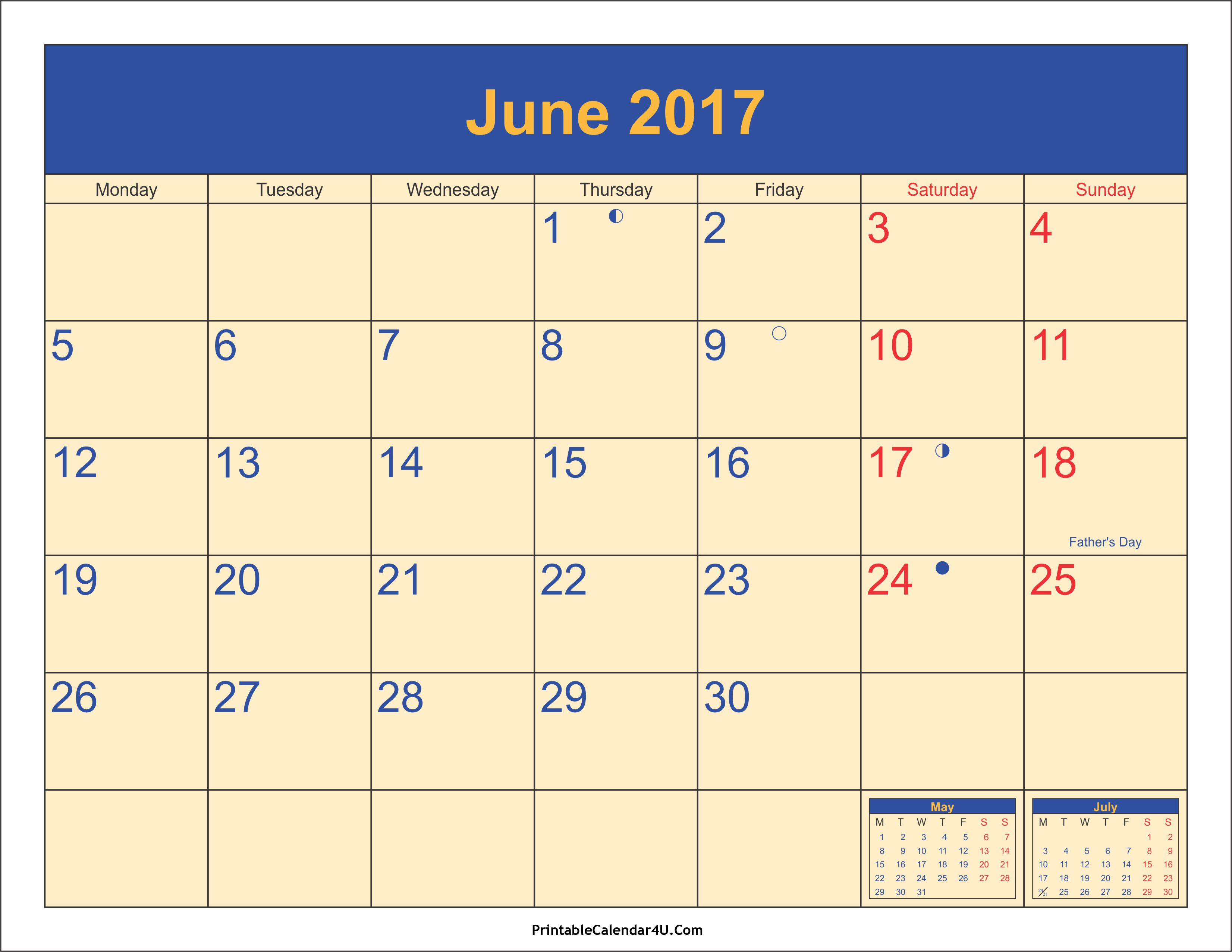 June 2017 Calendar With Holidays | printable calendar templates