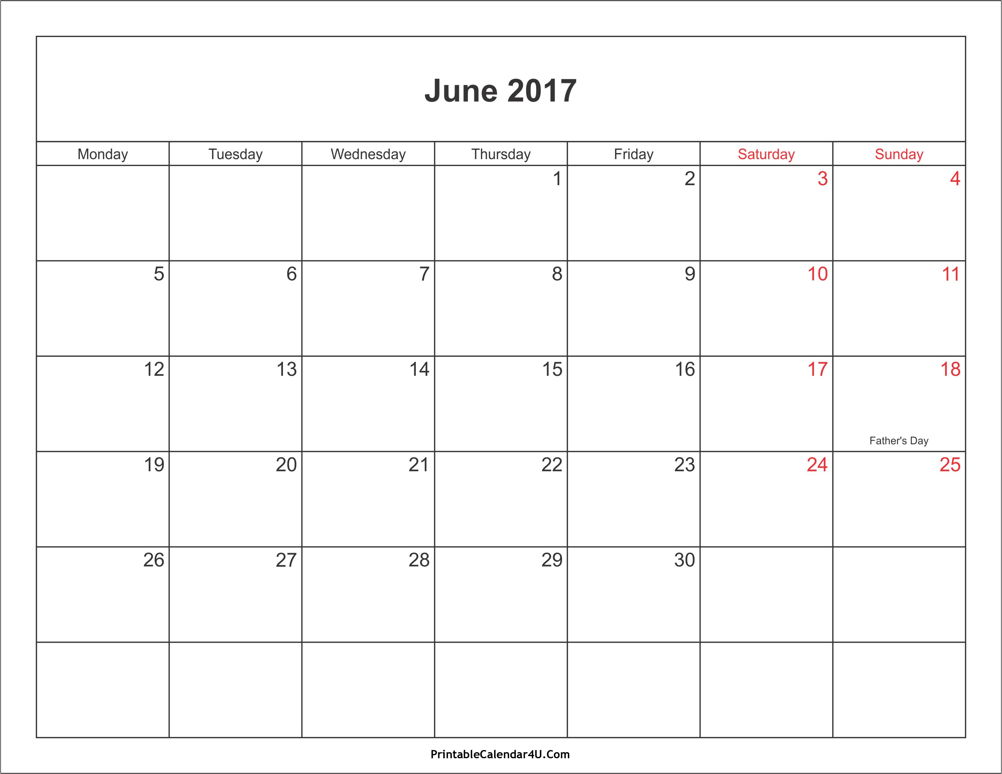 June 2017 Calendar With Holidays | weekly calendar template