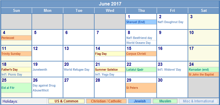 June 2017 Calendar With Holidays | weekly calendar template