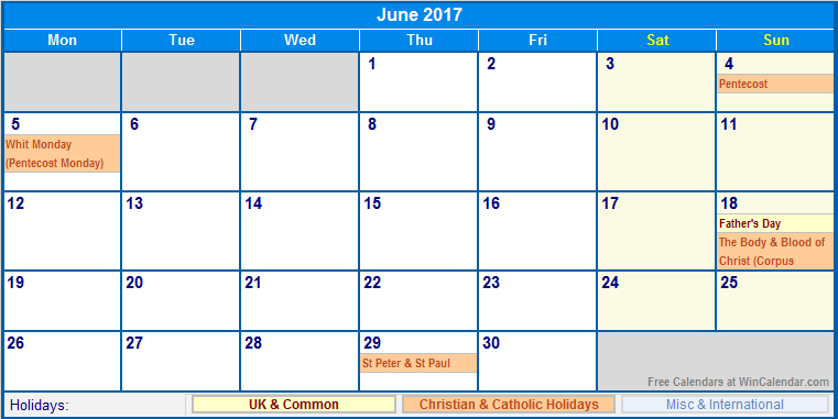 June 2017 Calendar With Holidays Uk | weekly calendar template