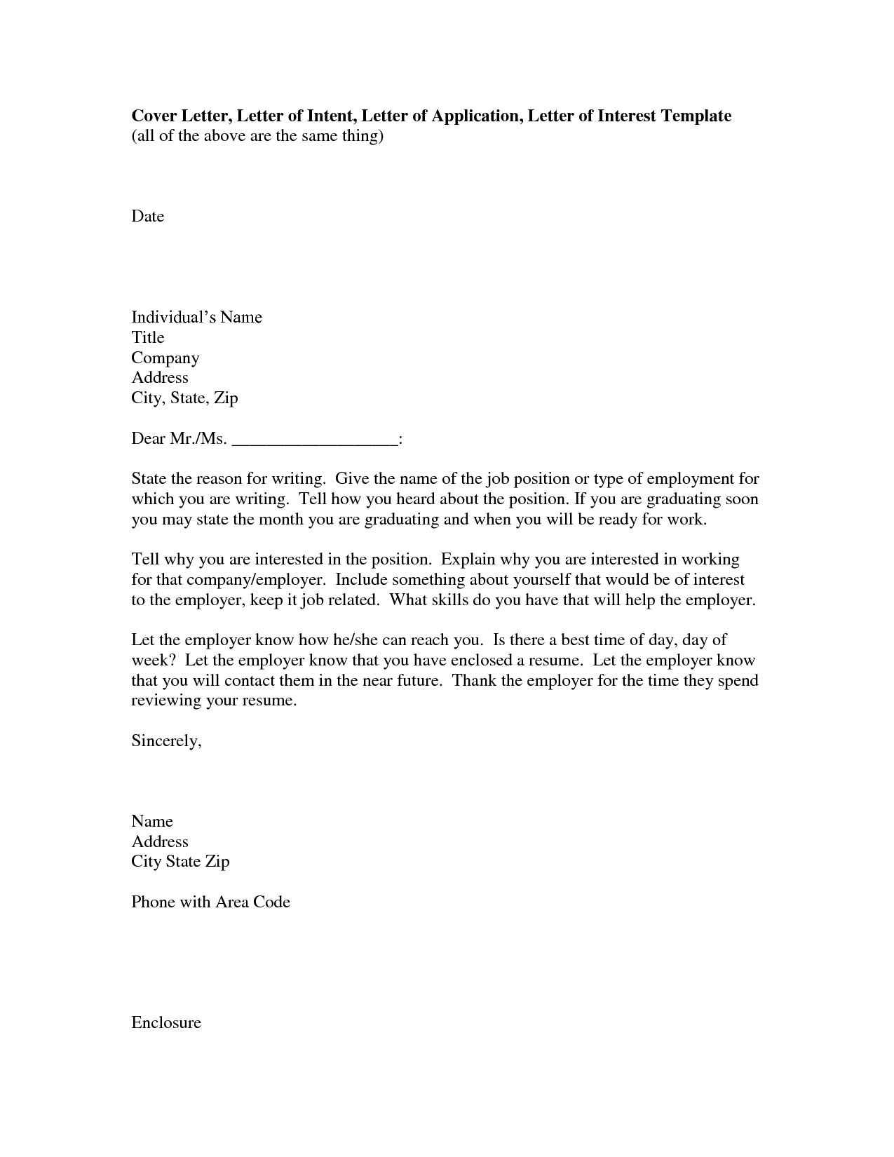 Letter Of Intent For Employment | Crna Cover Letter
