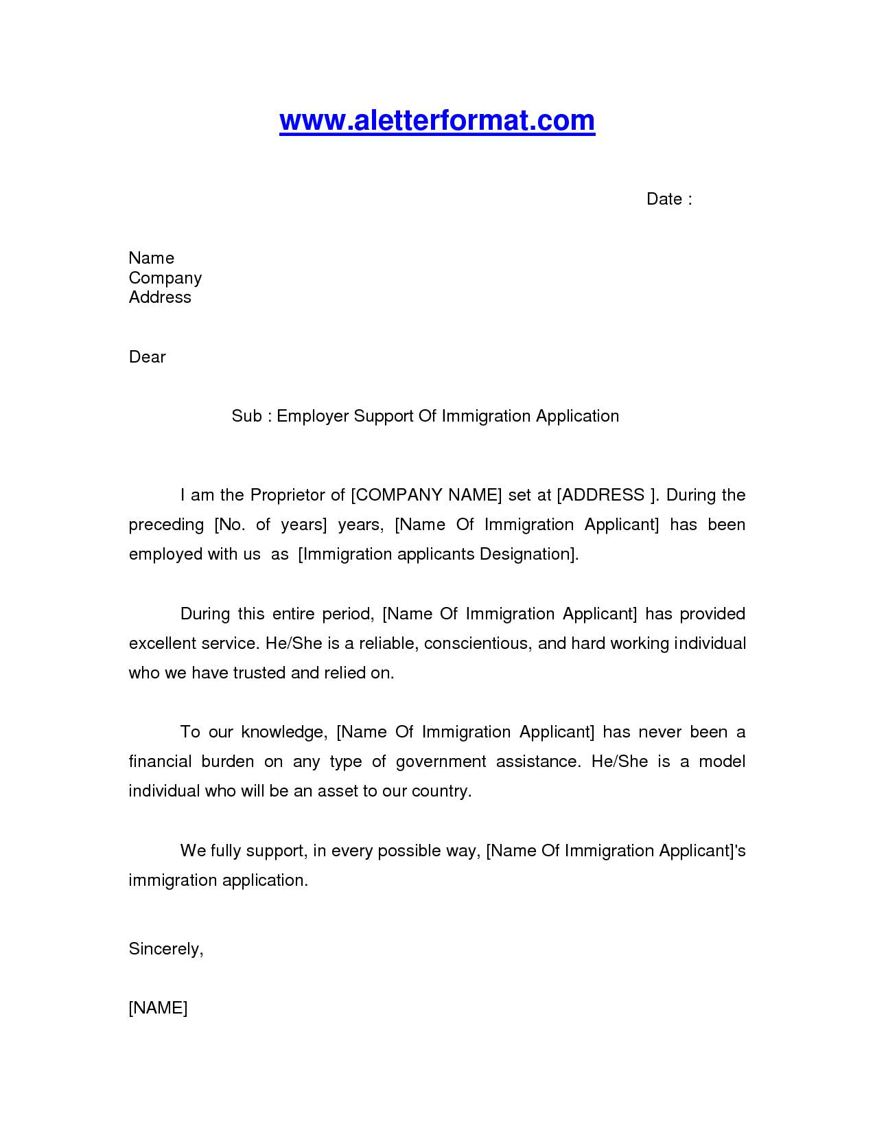 Letter Of Recommendation For Immigration | Crna Cover Letter