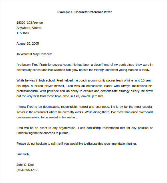 Recommendation Letter Template | Letter of Recommendation Template