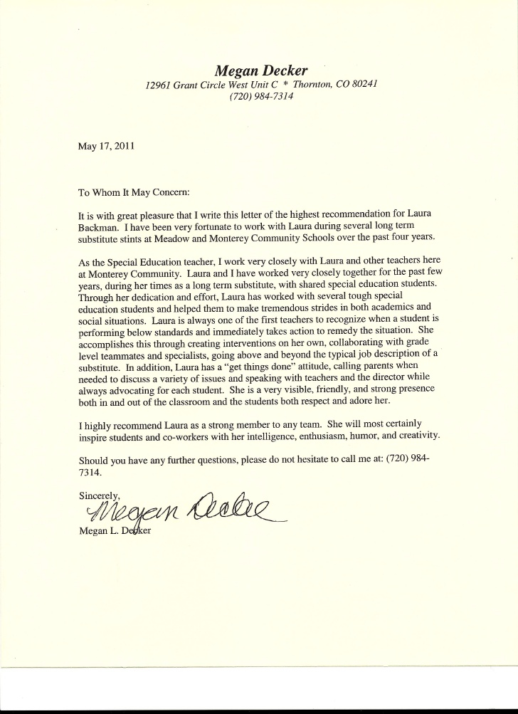 teacher letter of recommendation reference letter template employment templates free 11905 | letters of recommendation for teachers letter of recommendation from special education teacher from megan decker 1 728 UgmBvZ