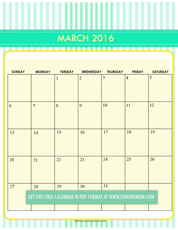 March 2017 Calendar Cute | monthly calendar printable