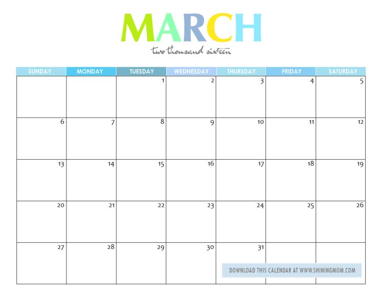 March 2017 Calendar Cute | weekly calendar template