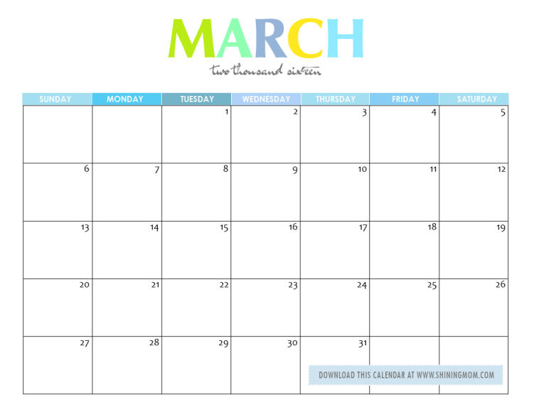 March 2017 Calendar Cute | weekly calendar template