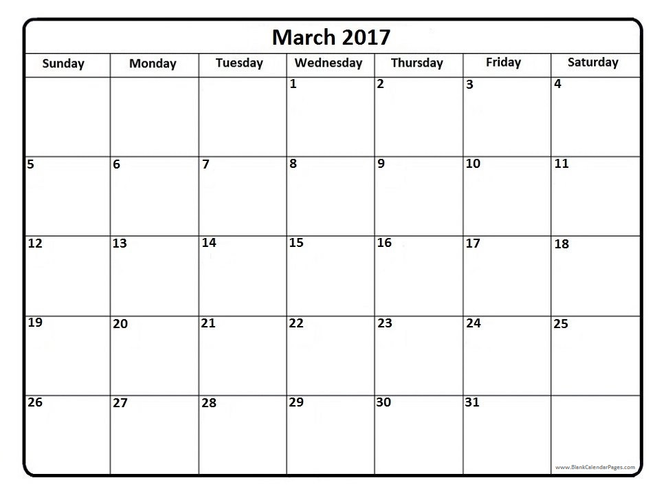 March 2017 Calendar With US Holidays