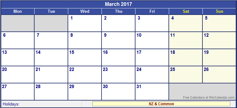 March 2017 Calendar NZ – Free Monthly Calendar 2017