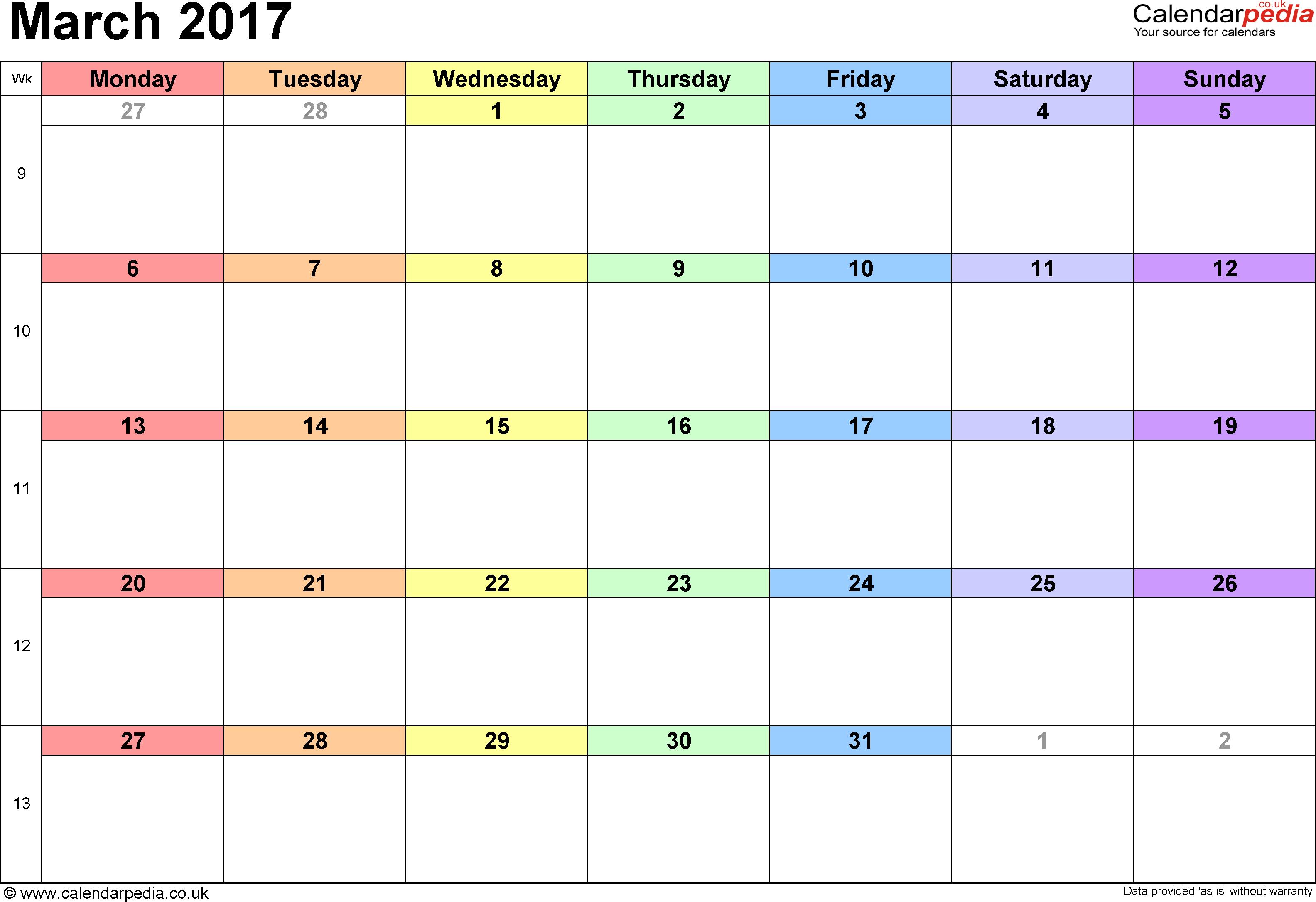 Calendar March 2017 UK, Bank Holidays, Excel/PDF/Word Templates