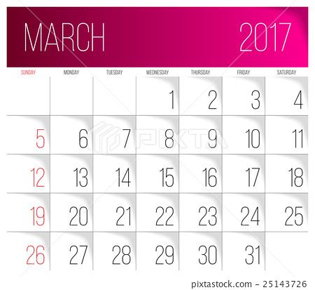 March 2017 calendar template Stock Illustration [25143726] PIXTA