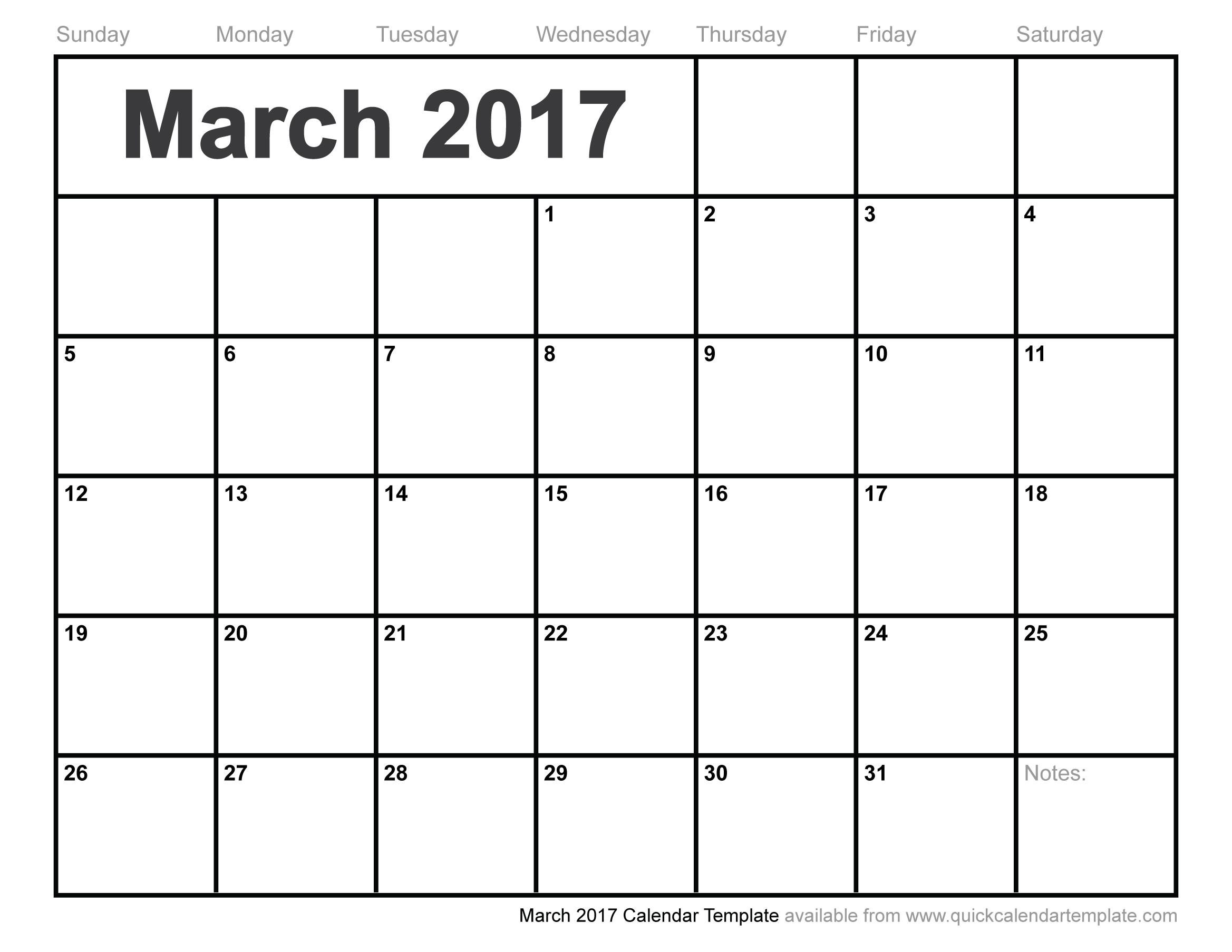 March 2017 Calendar Template