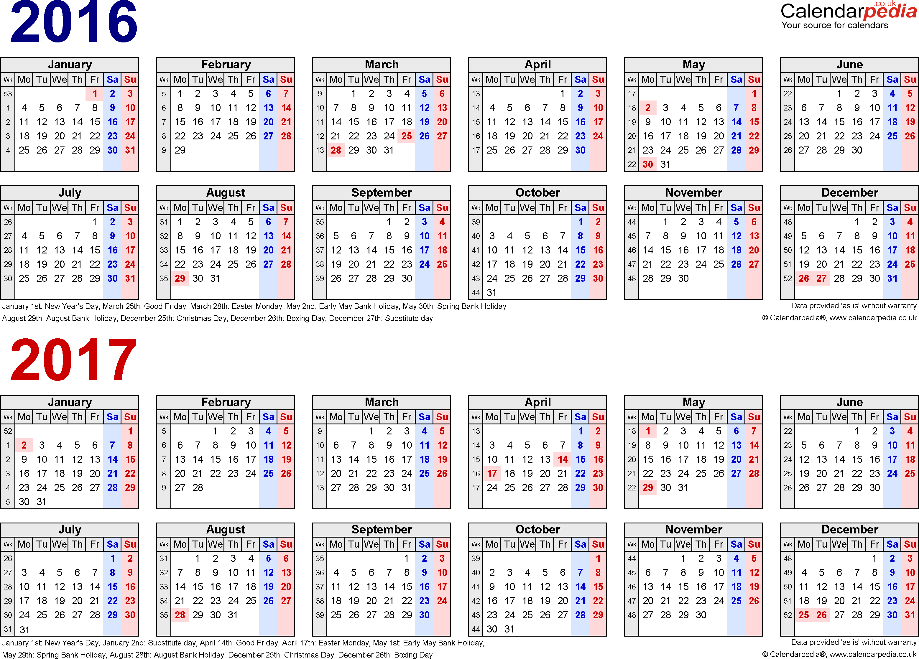 Two year calendars for 2016 & 2017 (UK) for Word