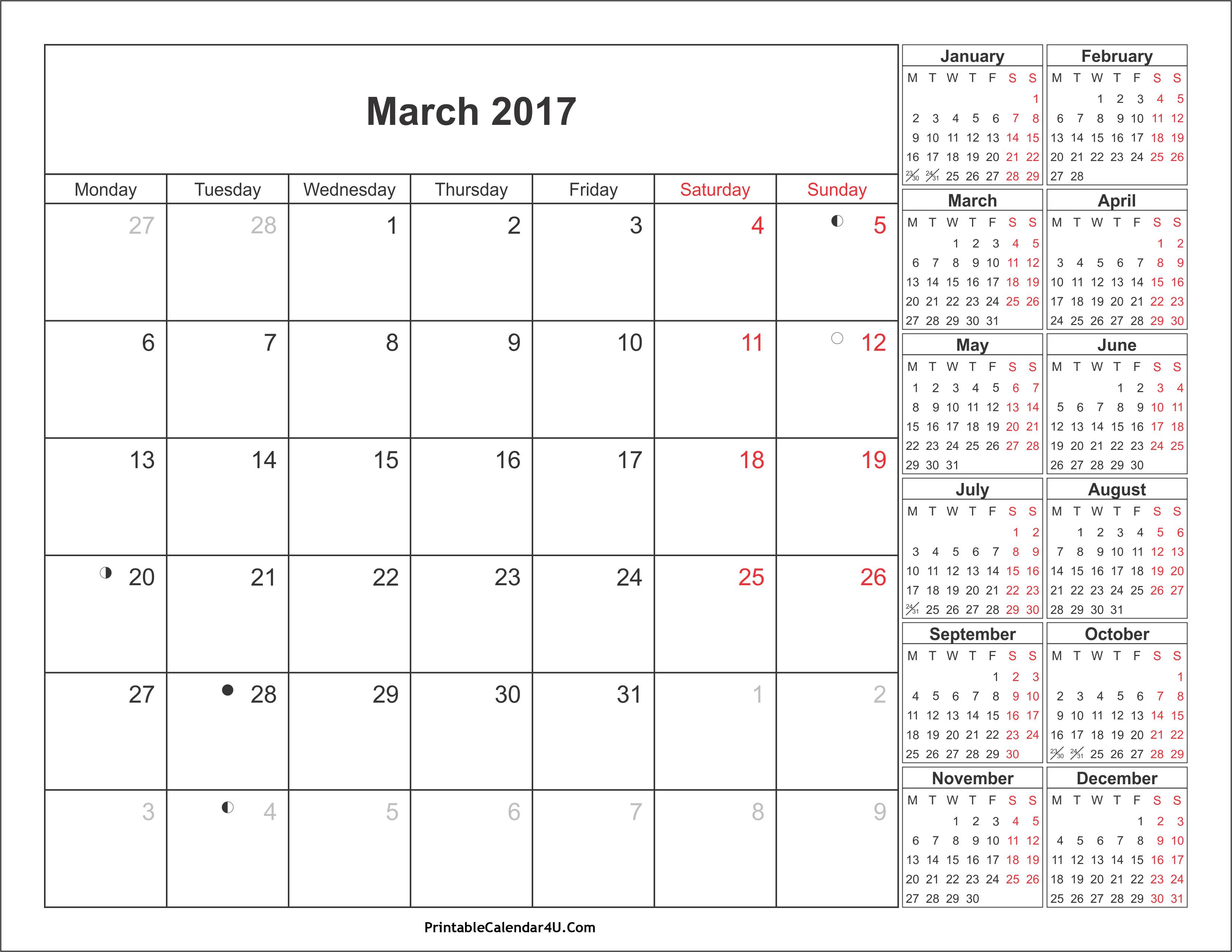 March 2017 Calendar with Holidays 4 Printable Calendar 2016 2017