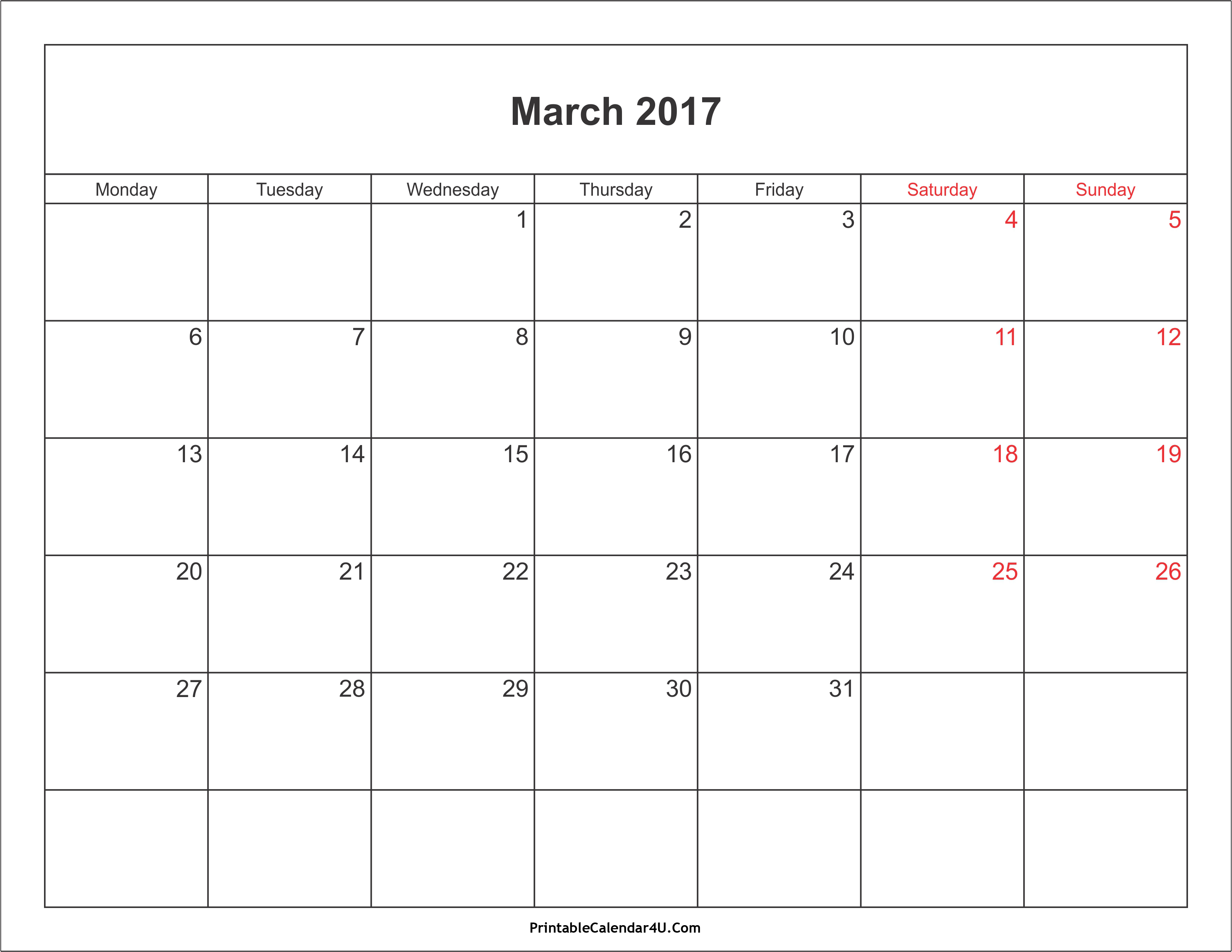 March 2017 Calendar Printable with Holidays PDF and