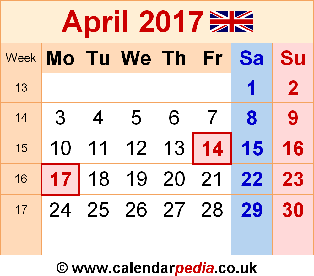 Calendar April 2017 UK, Bank Holidays, Excel/PDF/Word Templates