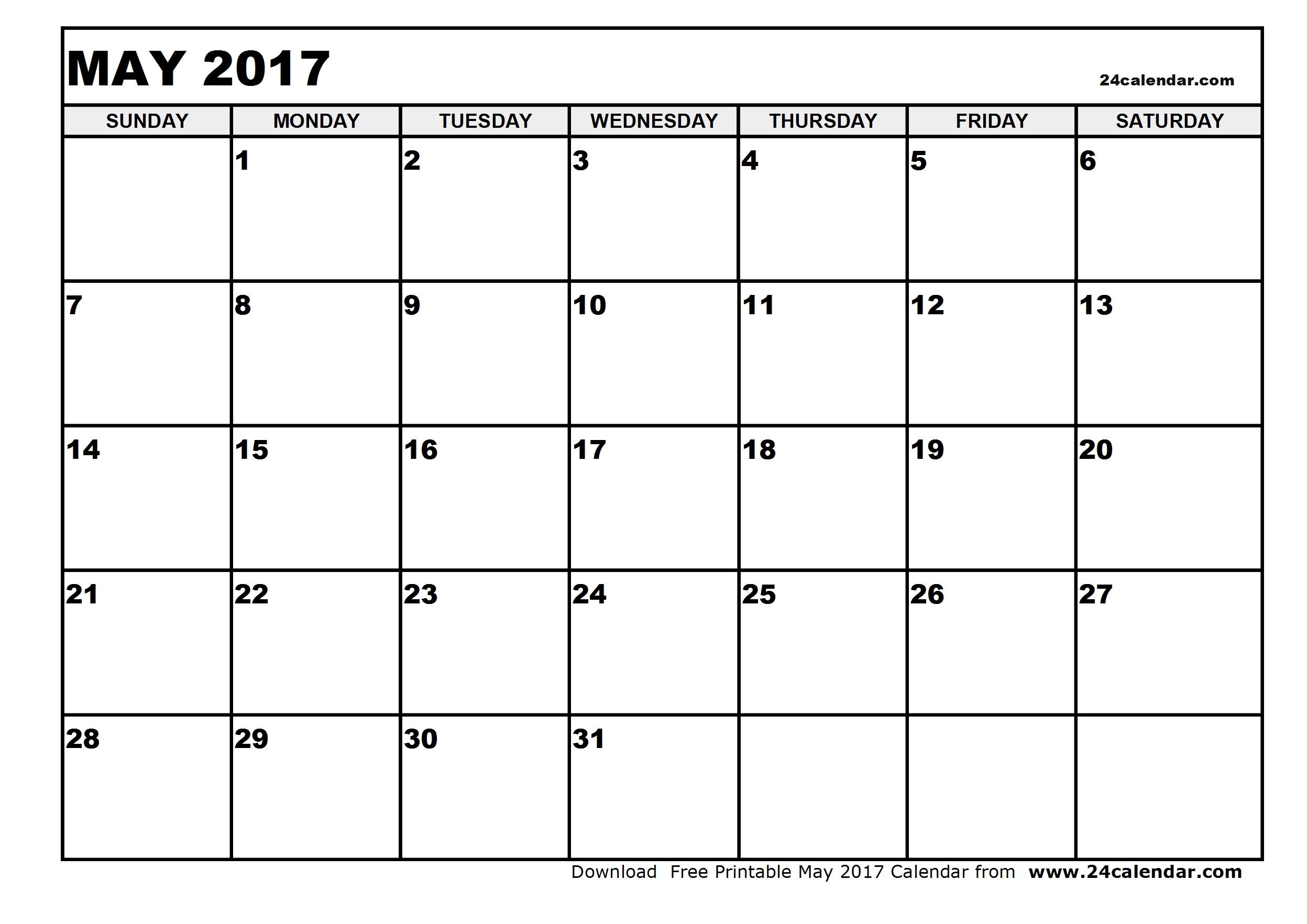 Free May 2017 Calendar (With US Holidays) – Printable Calendar