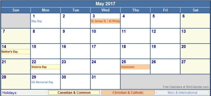 May 2017 Calendar Canada | monthly calendar printable