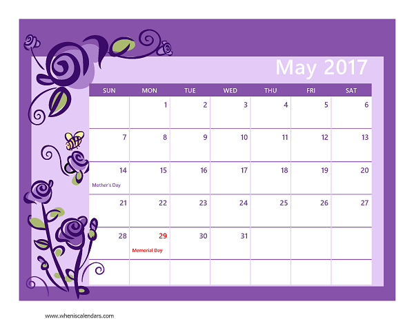 May 2017 Calendar With US Holidays