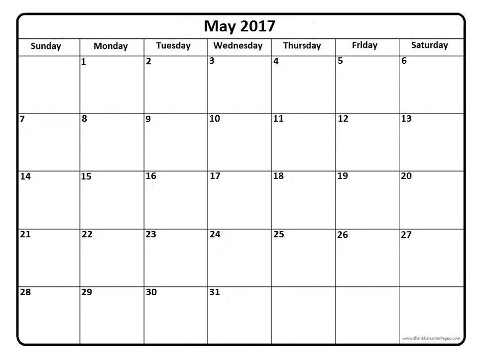 May 2017 calendar PDF.