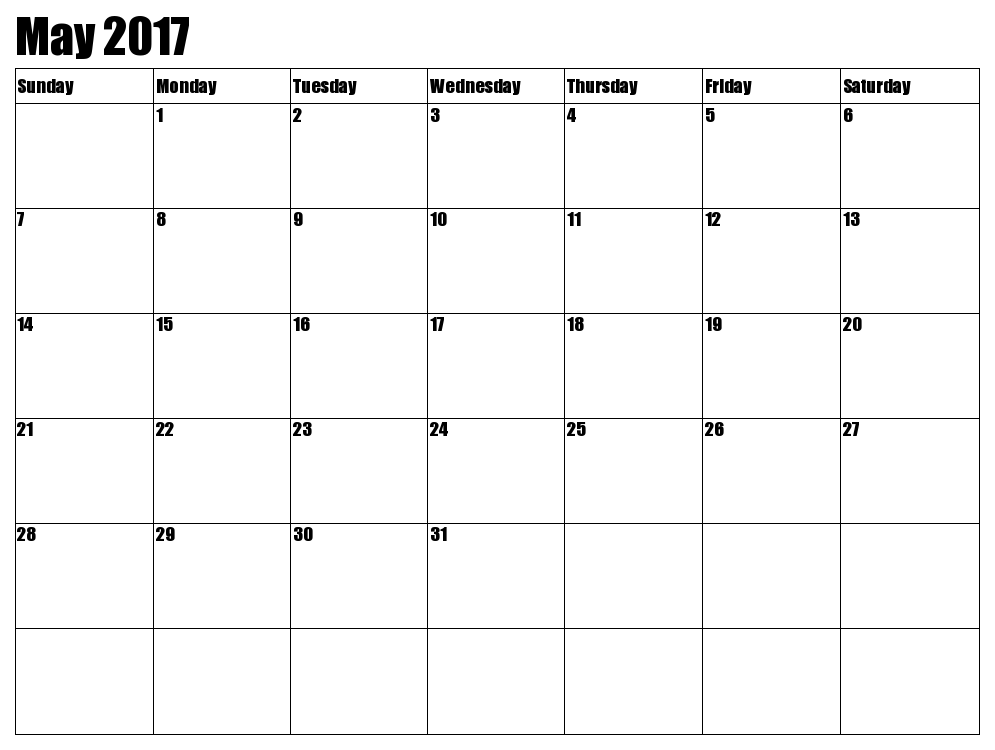 May 2017 Calendar Nz | yearly calendar template