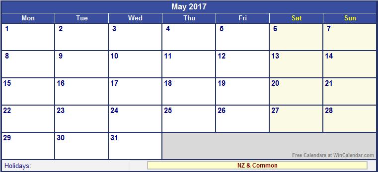 May 2017 Calendar Nz | monthly calendar printable