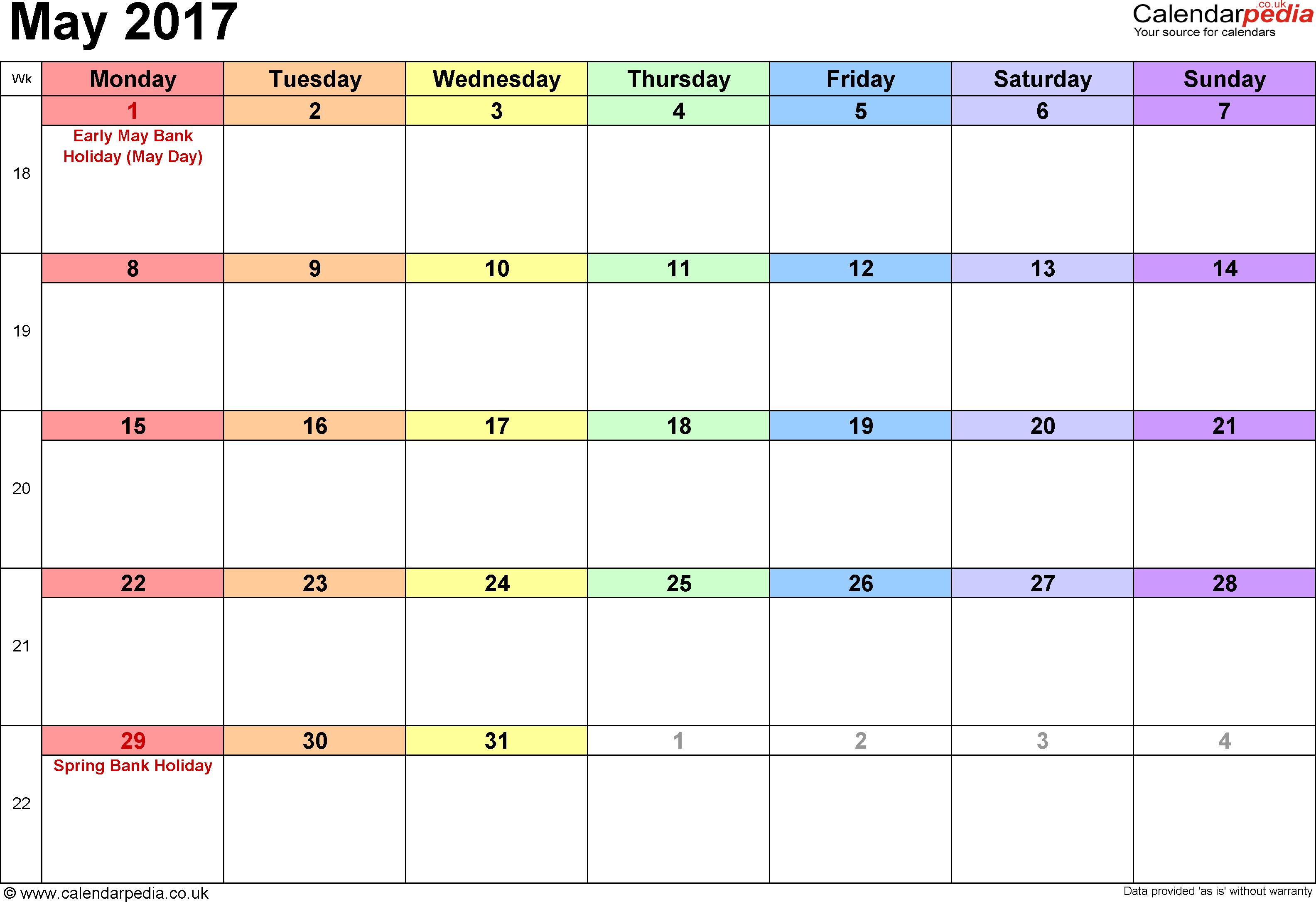 Free May 2017 Calendar Printable Templates – Webelations