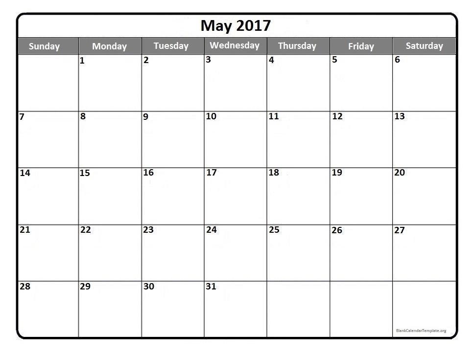 May 2017 Calendar Template | weekly calendar template