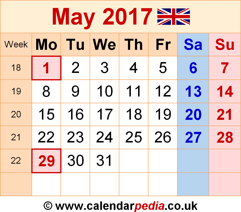 Calendar May 2017 UK, Bank Holidays, Excel/PDF/Word Templates