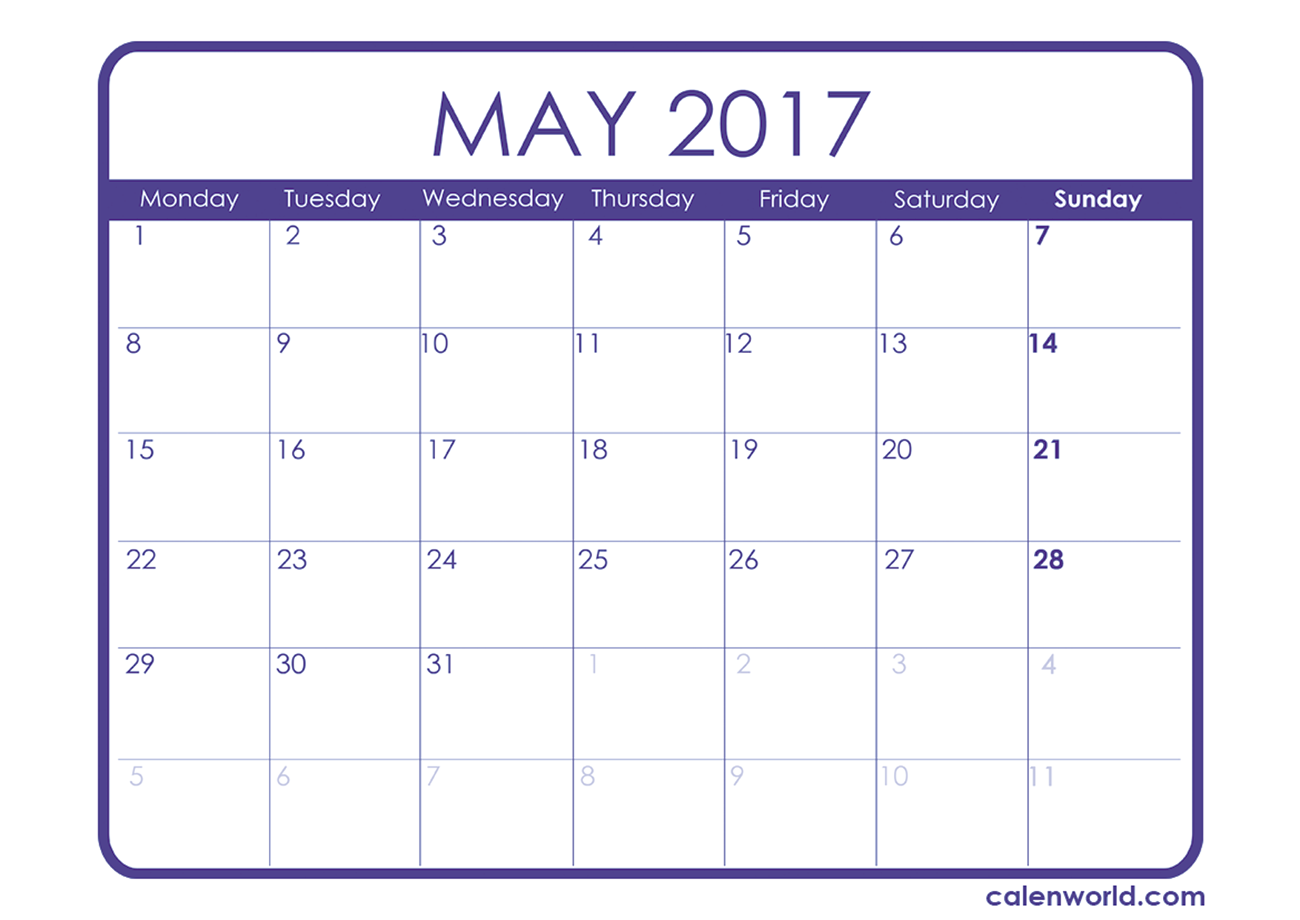 May 2017 Calendar Uk | monthly calendar printable