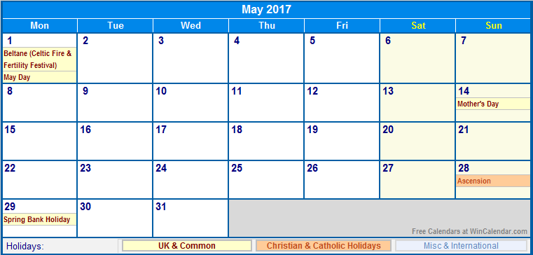 May 2017 Calendar Uk | weekly calendar template