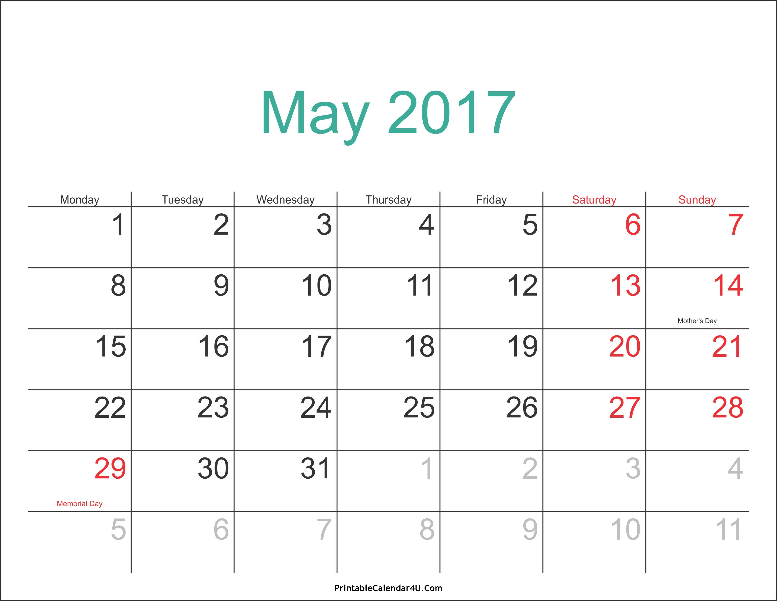 May 2017 Calendar with Holidays 3 Printable Calendar 2016 2017