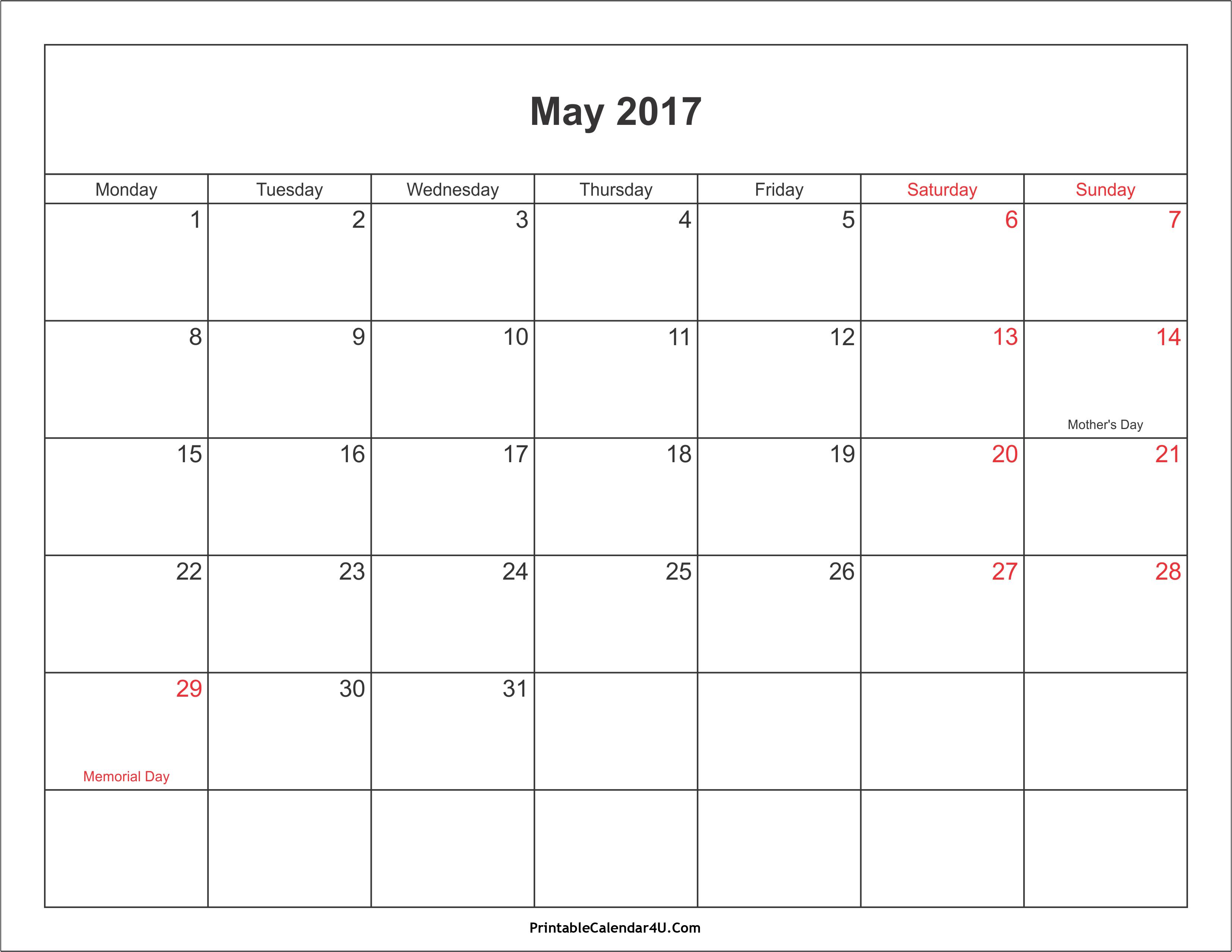May 2017 Calendar Printable with Holidays PDF and