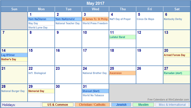 May 2017 Calendar With Holidays | weekly calendar template
