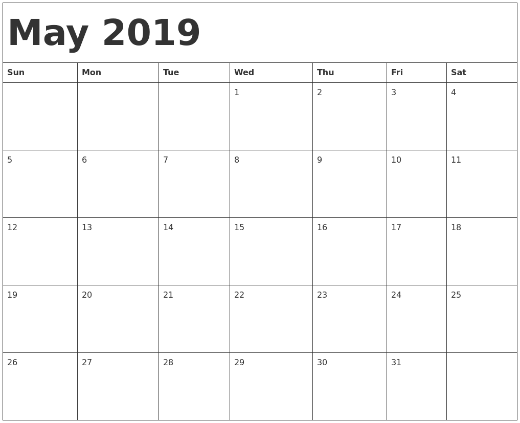May 2019 Calendar Free Printable AllFreePrintable.com