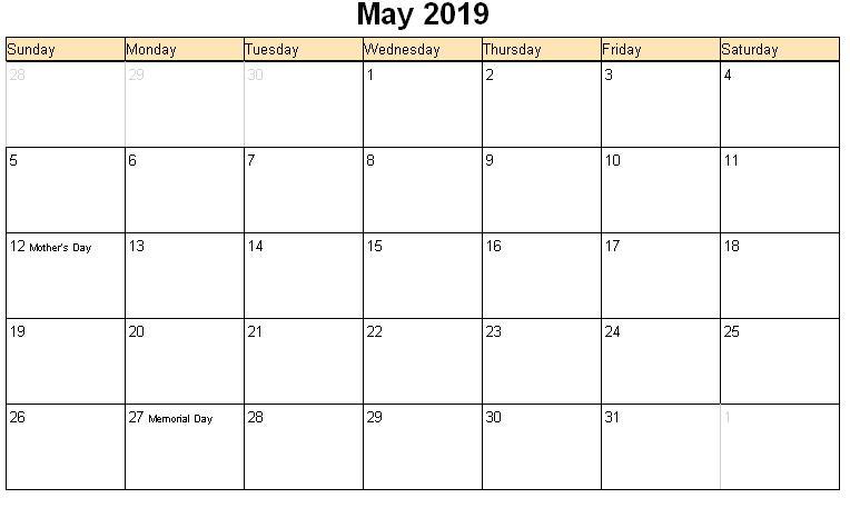 May 2019 Calendar Templates Free Printable