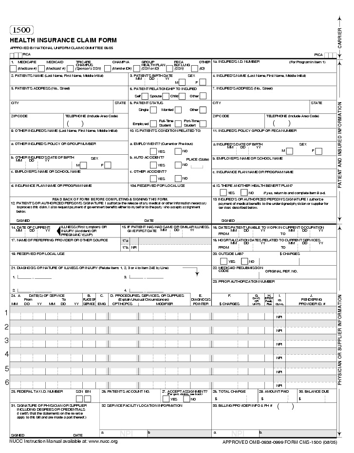 HCFA Forms, CMS 1500 Medical Forms, Health Insurance Claim Forms